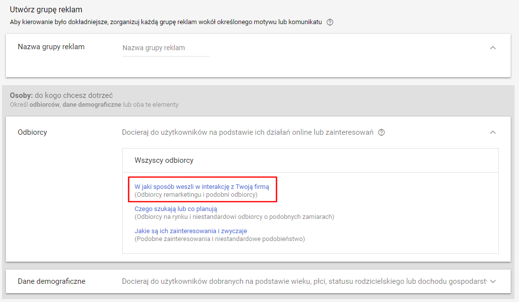 odbiorcy w remarketingu google ads