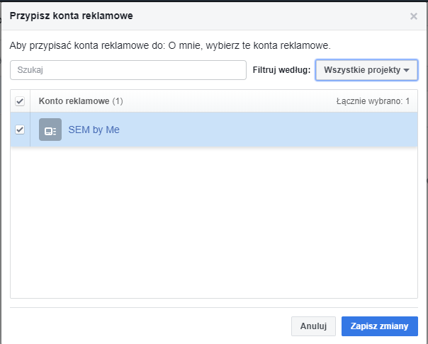 łączenie konwersji fb z kontem reklamowym