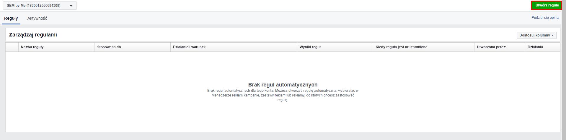 tworzenie reguły automatyczne na fb