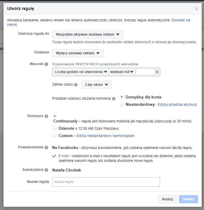 konfiguracja reguły automatyczne na fb
