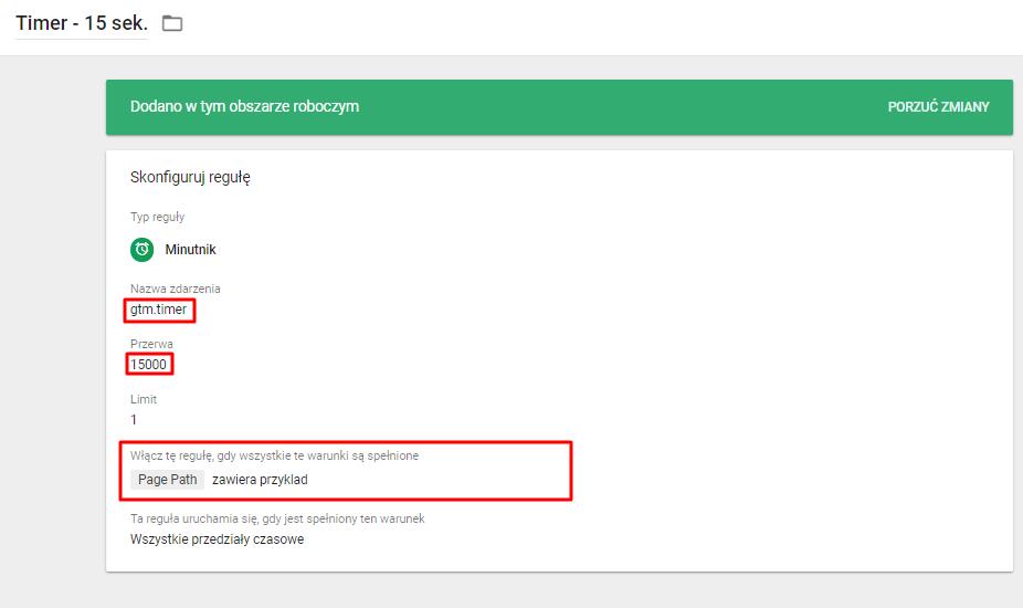 ustawienie minutnika w google tag managerze