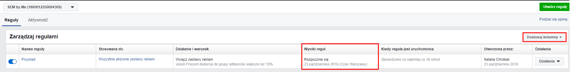 analiza reguły automatyczne na fb