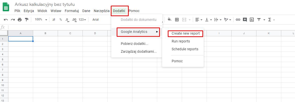 Dodawanie danych do Data Studio