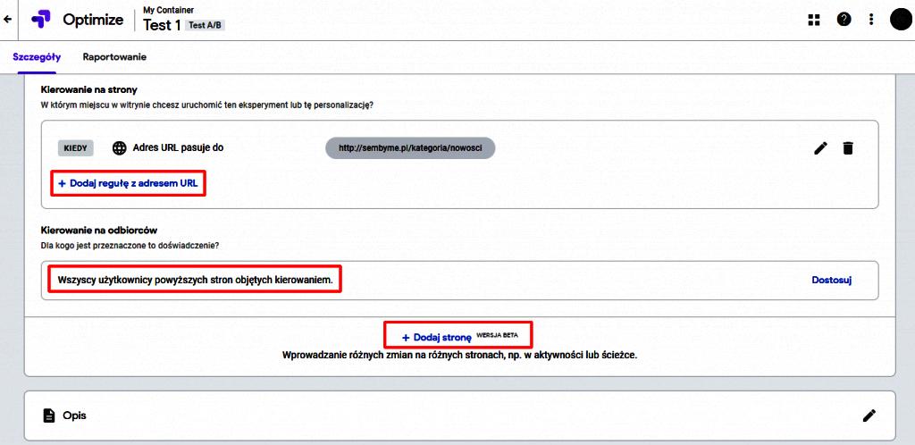 Ustawienia grupy testowej Google Optimize