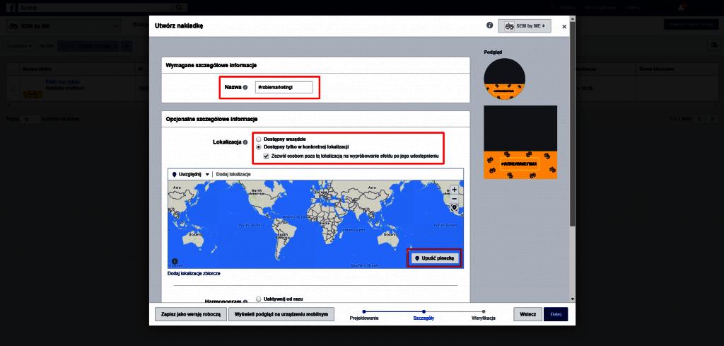 Ustawienia lokalizacji nakładki na facebooku