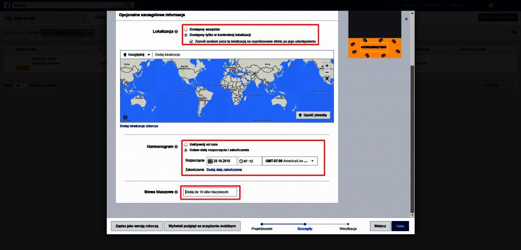 ustawienia harmonogramu nakładki na fb