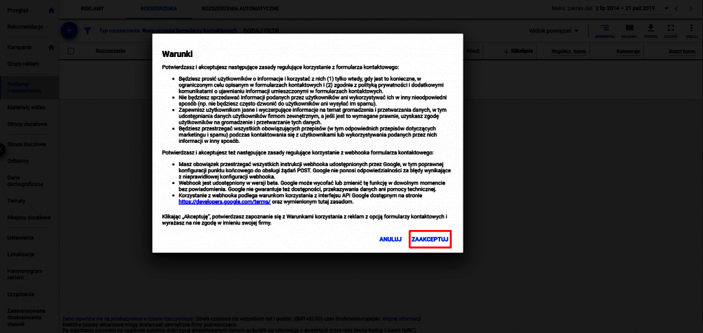Akceptacja warunków korzystania z formularzy kontaktowych google ads