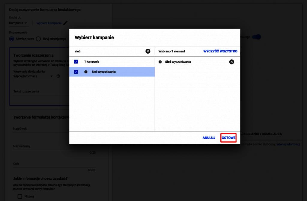 rozszerzenie w sieci wyszukiwania formularz kontaktowy