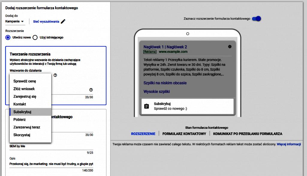 Konfiguracja rozszerzenia formularzy kontaktowych
