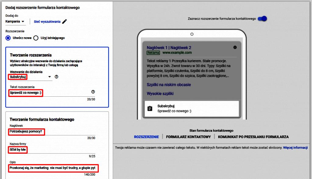 ustawiania formularza kontaktu w google ads