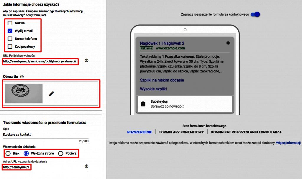 Tworzenie formularza kontaktowego google ads