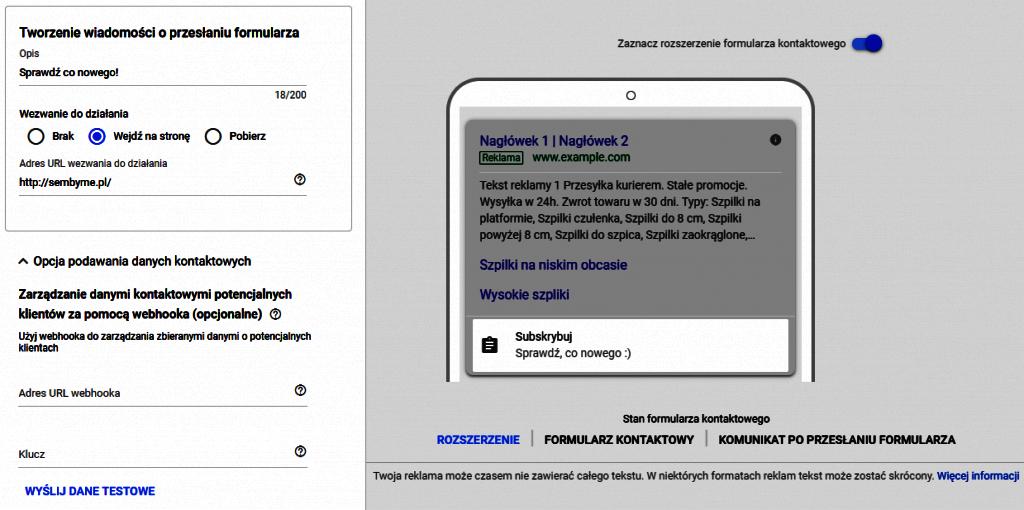 Gotowy formularz rozszerzenia google ads