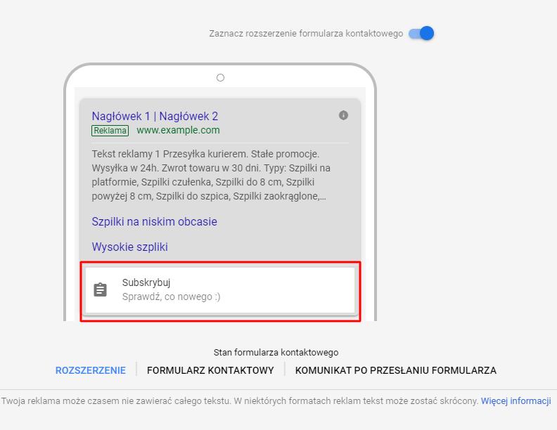 Ekran pierwszy rozszerzenia formularza kontaktów google ads
