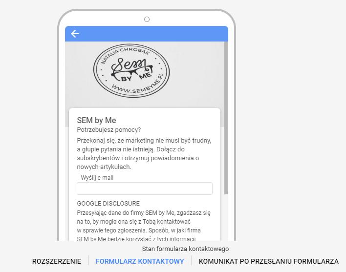 Ekran trzeci rozszerzenia formularza kontaktów google ads