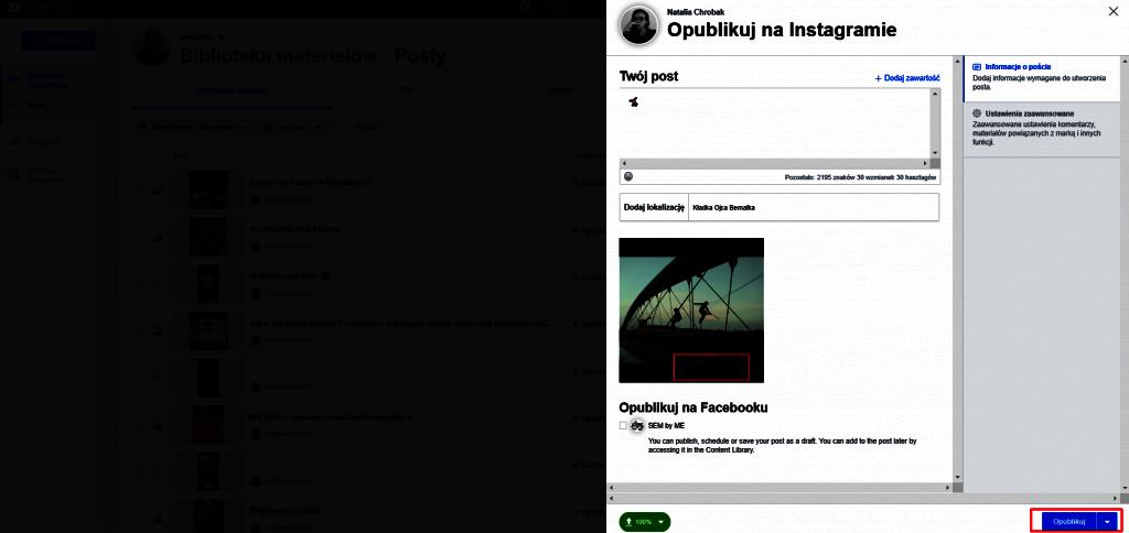 planowanie postów na instagramie z komputera