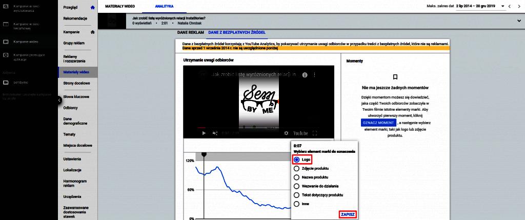 sprawdzanie wyświetleń logo przez oznaczanie momentów w wideo