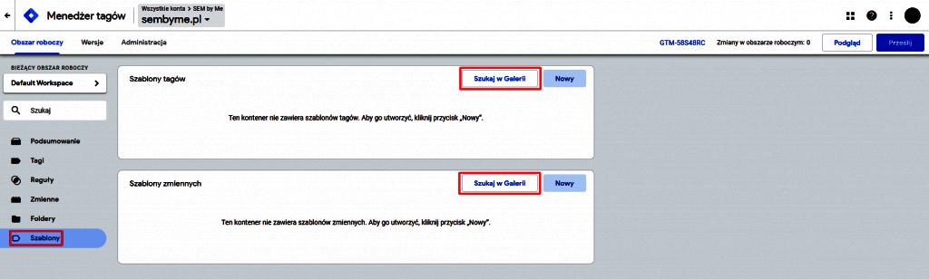 szablony tagów w google tag managerze