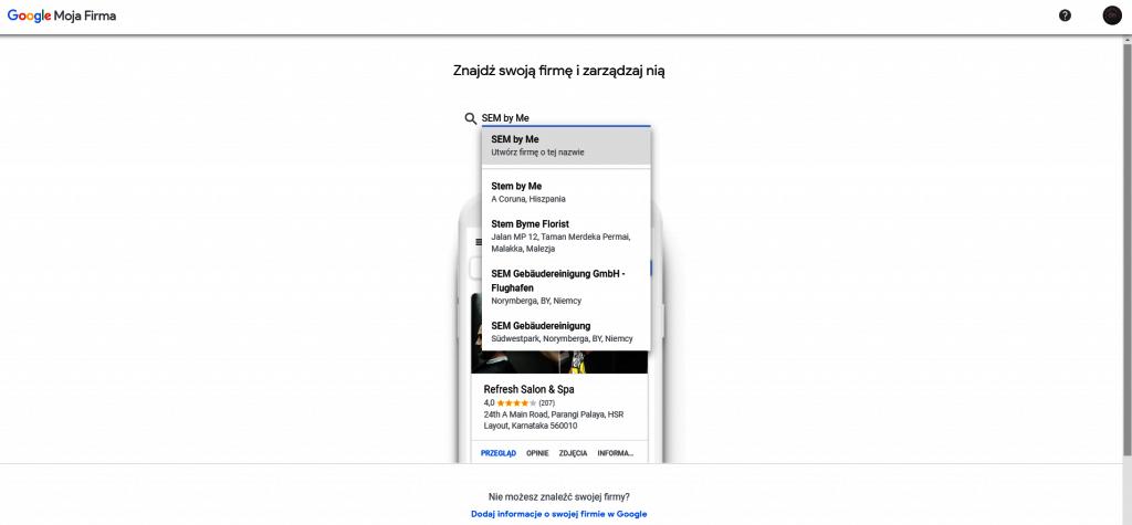 Dodawanie wizytówki Google Moja Firma