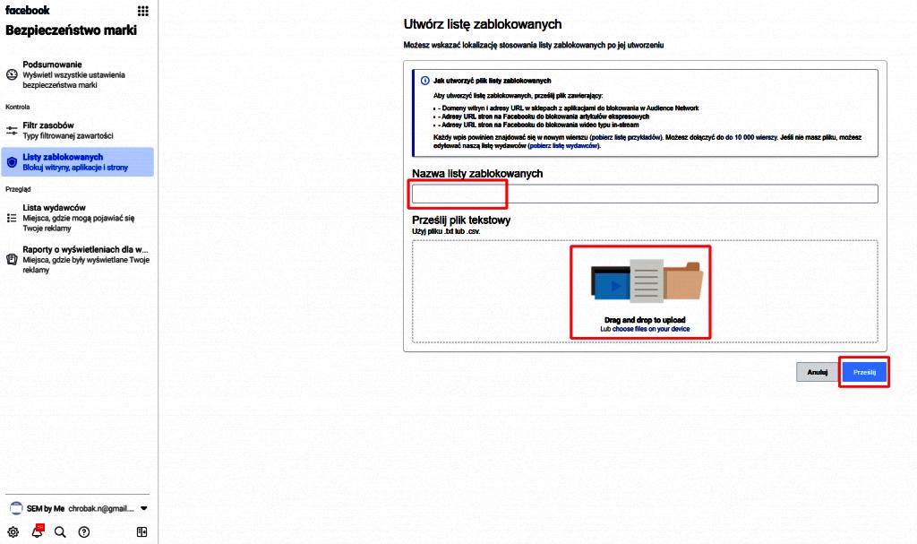 przesyłanie listy zablokowanych w bezpieczeństwo marki