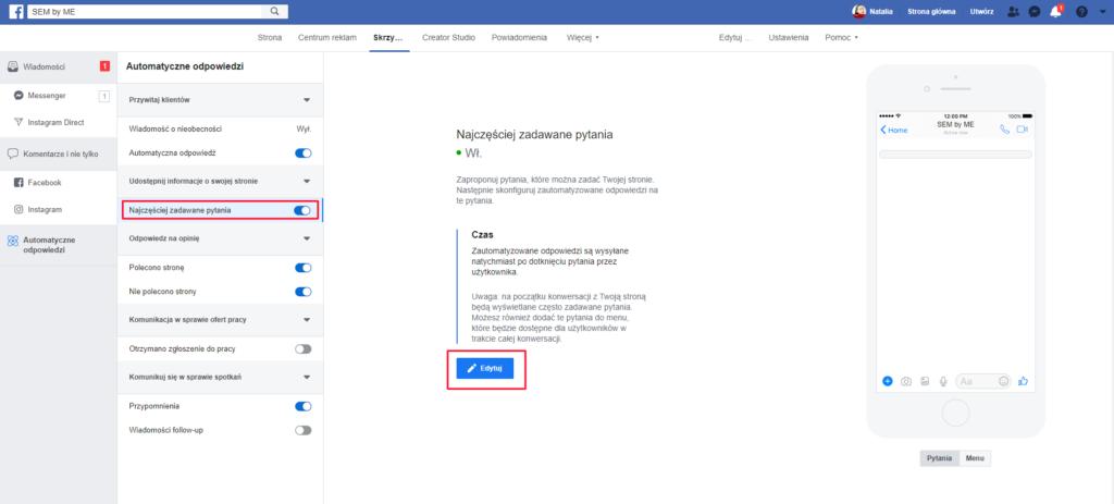 Dodawanie menu do messengera w automatycznych odpowiedziach fb