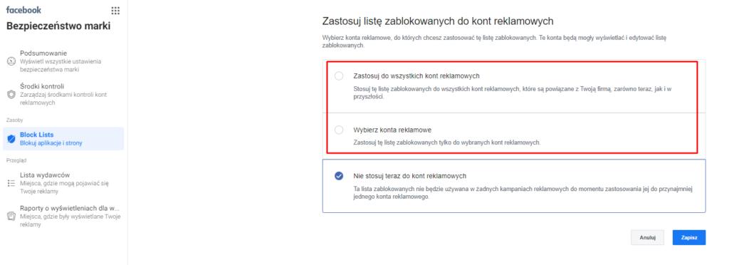 listy zablokowanych w reklamach na fb