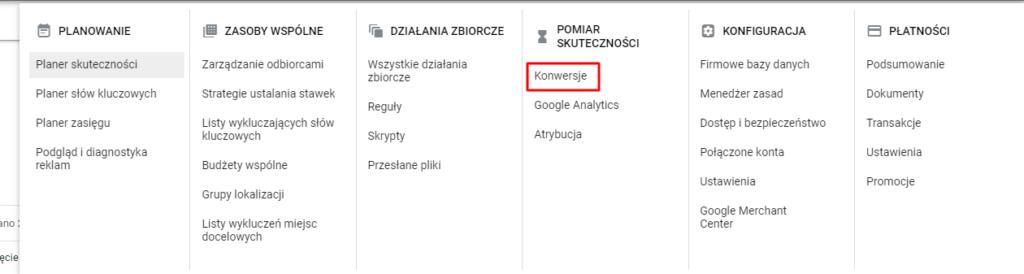 dodawanie konwersji do konta google ads