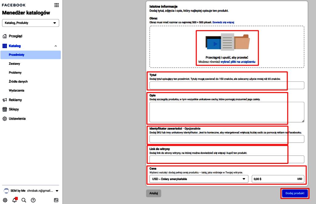 co jest wymagane do dodania produktu do katalog produktów na FB